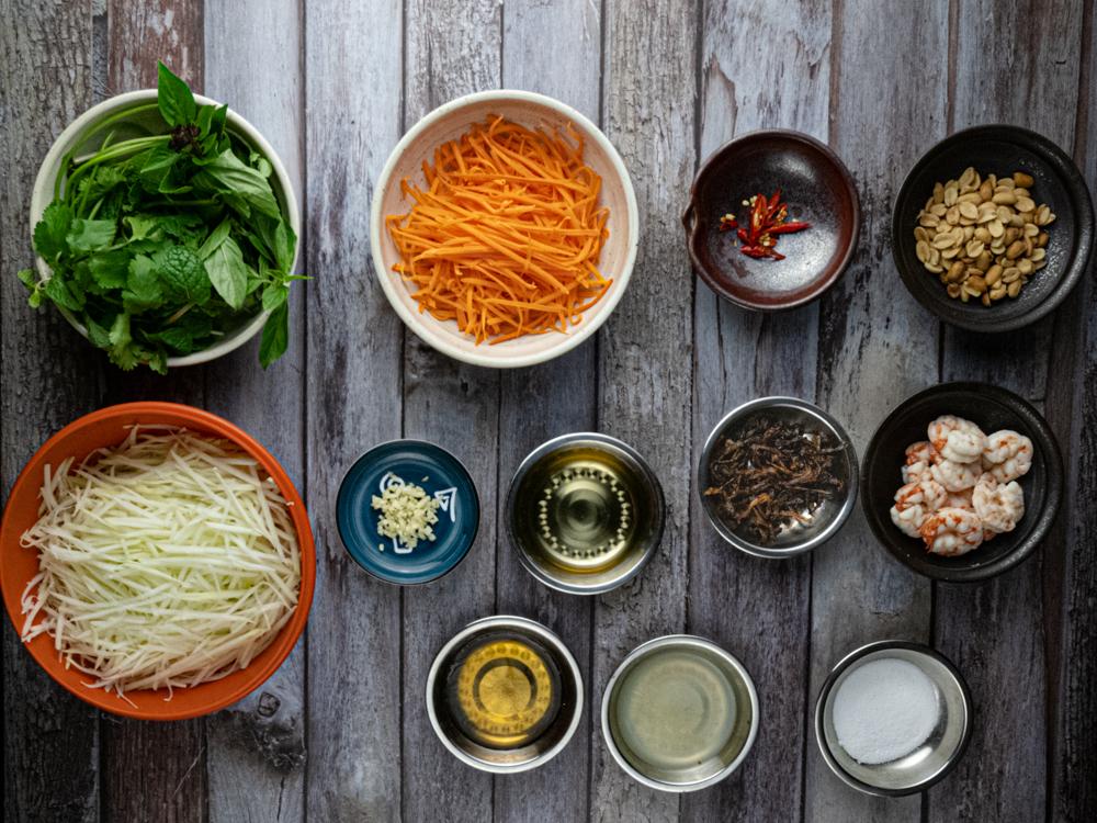image of Vietnamese Papaya Salad - Ingredients